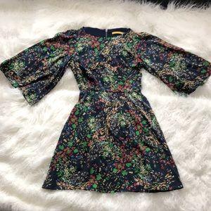 ALICE + OLIVIA BLUE SILK BLEND BOHO FLORAL DRESS